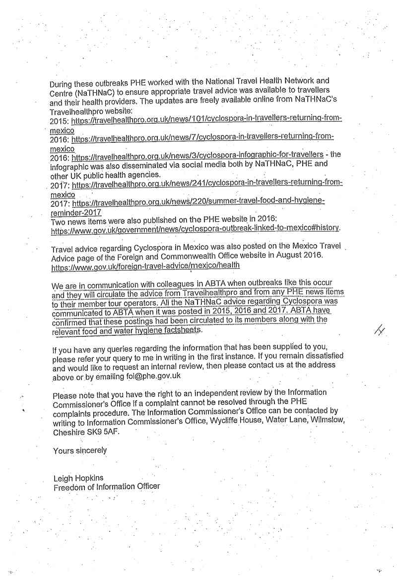 Page 2 of PHE letter to customer regarding Cyclospora in Mexico